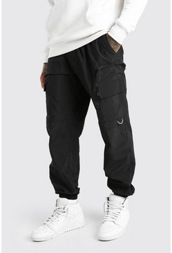 Black Nylon Cargo Trouser With 3D Pockets