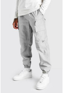 Light grey grey Nylon Cargo Trouser With 3D Pockets