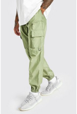 Khaki Shell Cargo Trouser With 3D Pockets