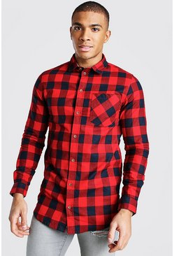 Red Long Sleeve Longline Check Shirt