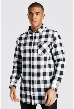 White Long Sleeve Longline Flannel Shirt