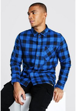 Blue Long Sleeve Longline Check Shirt