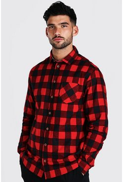 Red Long Sleeve Regular Fit Flannel Shirt