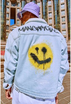 Light blue blue MAN Graffiti Borg Lined Denim Jacket