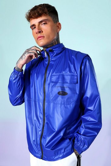 Cobalt blue Funnel Neck Oversized Cagoule