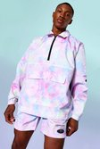 Tie Dye Funnel Neck Oversized Cagoule, Multi mehrfarbig