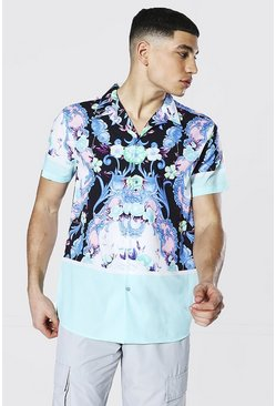 Short Sleeve Floral Print Shirt , Mint verde