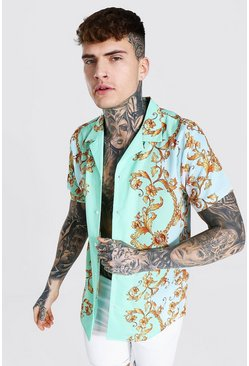 Mint green Short Sleeve Baroque Print Shirt