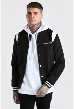 Black MAN Official Melton Varsity Bomber