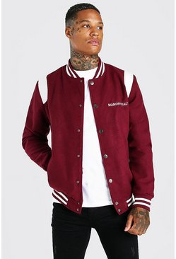 Burgundy red MAN Official Melton Varsity Bomber