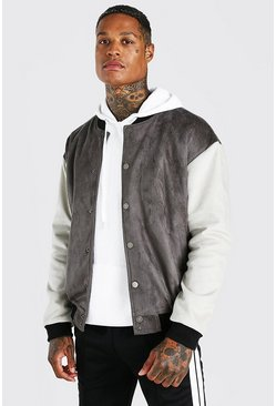Charcoal grey Suedette Contrast Oversized Varsity Jacket