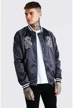 Bomber universitaria de satén bordada, Charcoal gris
