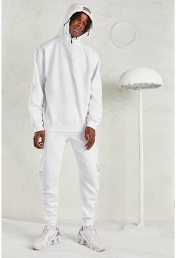 White MAN Oversized Hoodie &Utility Jogger Tracksuit