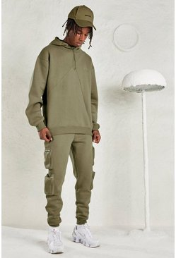 Sage silver grey MAN Oversized Hoodie & Jogger Tracksuit