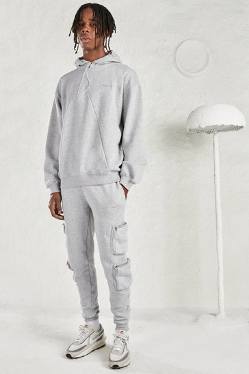 Grey marl grey MAN Oversized Hoodie & Utility Jogger Tracksuit