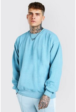 Sweat oversize chiné surteint MAN Official, Bleu