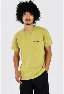 Mustard yellow Oversized Man Official Marl Overdye T-Shirt