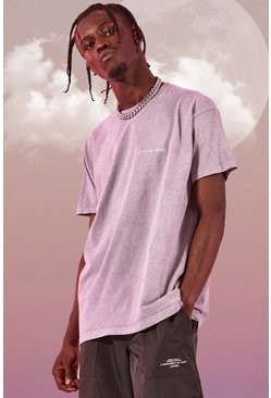 Lilac grey Oversized Man Official Marl Overdye T-Shirt