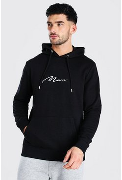 Black MAN Signature Over The Head Hoodie