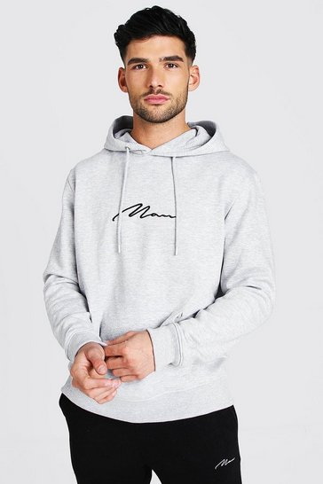 Grey marl grey MAN Signature Over The Head Hoodie