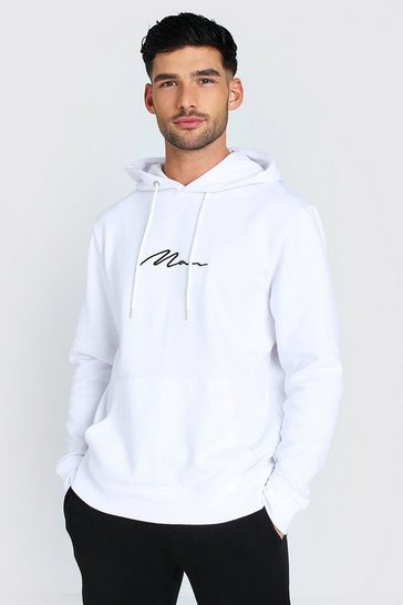 White MAN Signature Over The Head Hoodie