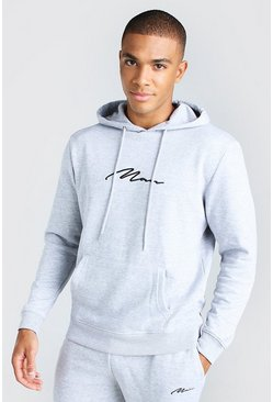 Grey marl grey 2 Pack MAN Signature Over The Head Hoodie