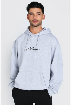 Grey marl grey Oversized MAN Signature Over The Head Hoodie