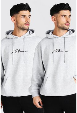 Grey marl grey 2 Pack Oversized MAN Signature OTH Hoodie