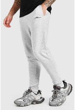 Grey marl MAN Signature Embroidered Skinny Jogger