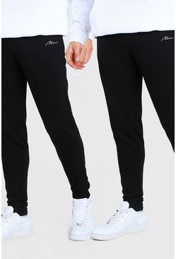 Black 2 Pack MAN Signature Skinny Jogger