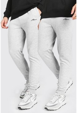 Grey marl 2 Pack MAN Signature Skinny Jogger