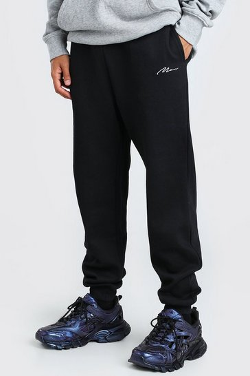 Black Loose Fit MAN Signature Embroidered Jogger