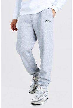 Loose Fit Jogginghosen mit MAN-Stickerei, Grau meliert grau