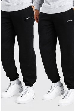 Black 2 Pack MAN Signature Loose Fit Jogger