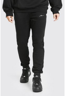 Black Man Signature Geborduurde Slim Fit Joggingbroek
