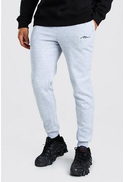 Grey marl MAN Signature Embroidered Slim Fit Jogger