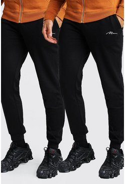 Black 2 Pack Slim Fit MAN Signature Joggers