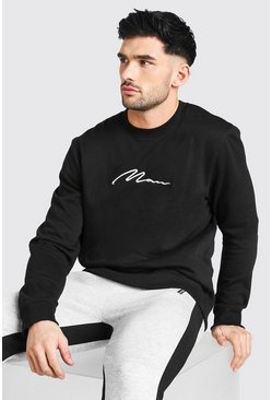 Black MAN Signature Embroidered Sweatshirt