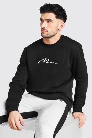 Black MAN Signature Embroidered Sweatshirt