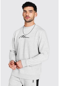 Grey marl grey MAN Signature Embroidered Sweatshirt