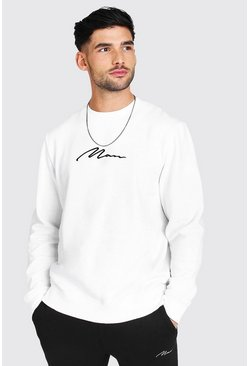 White MAN Signature Embroidered Sweatshirt