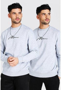 Grey marl 2 Pack MAN Signature Embroidered Sweatshirt