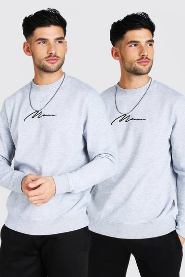 Grey marl grey 2 Pack MAN Signature Embroidered Sweatshirt