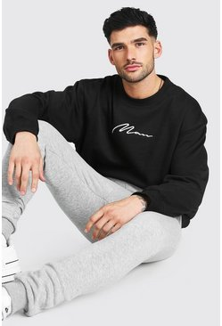 Black Oversized Man Signature Sweater