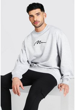 Grey marl grey Oversized MAN Signature Sweatshirt