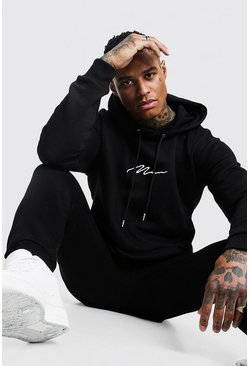 Black MAN Signature Regular Hooded Tracksuit