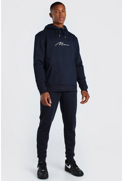 Navy marinblå Man Signature Träningsoverall med sweatshirt i regular fit