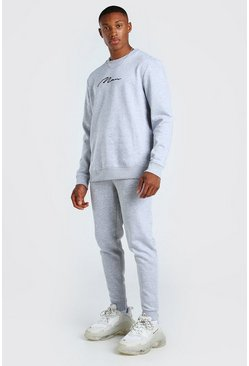 Grey marl grey MAN Signature Sweater Tracksuit