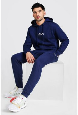 Navy Original MAN Regular Hooded Tracksuit
