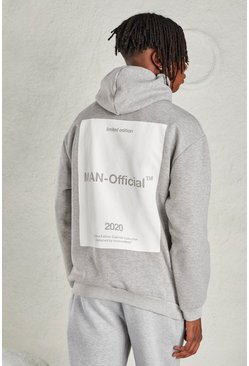 Grey MAN Oversized Hoodie with Back Print
